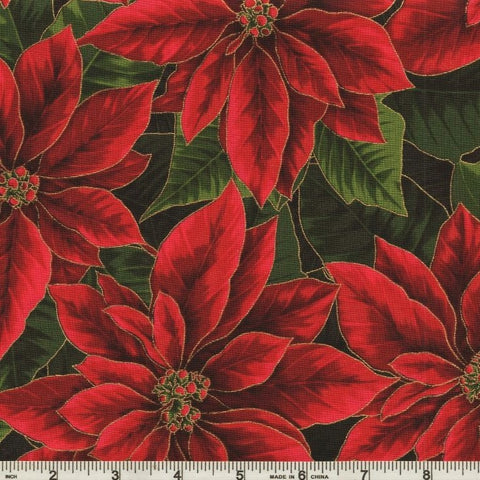 Hoffman Metallic Holiday Decadence 7702 161 Christmas/Gold Poinsettia Bloom By The Yard