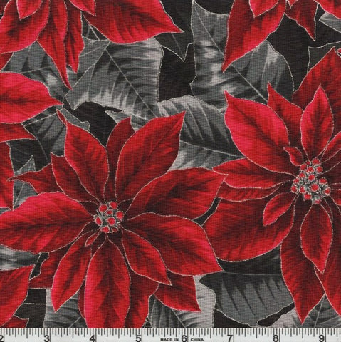 Hoffman Metallic Holiday Decadence 7702 213 Onyx/Silver Poinsettia Blooms By The Yard