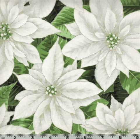 Hoffman Metallic Holiday Decadence 7702 3 White/Silver Poinsettia Blooms By The Yard