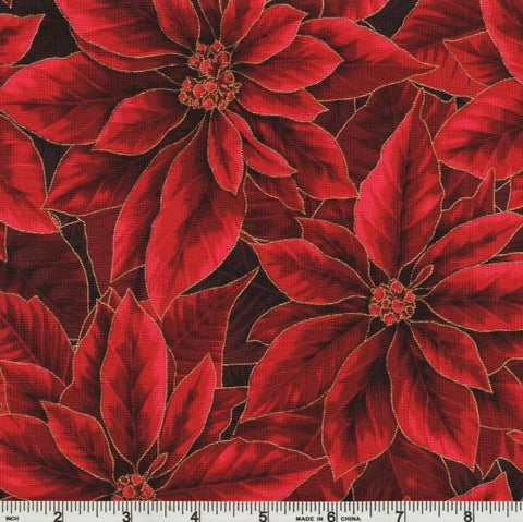 Hoffman Metallic Holiday Decadence 7702 78 Scarlet/Gold Poinsettia Bloom By The Yard