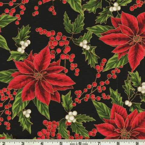 Hoffman Metallic Holiday Decadence 7703 4 Black/Gold Poinsettia Berry By The Yard