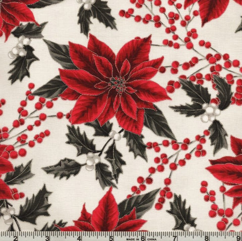 Hoffman Metallic Holiday Decadence 7703 674 Light Grey/Silver Poinsettia Berry By The Yard