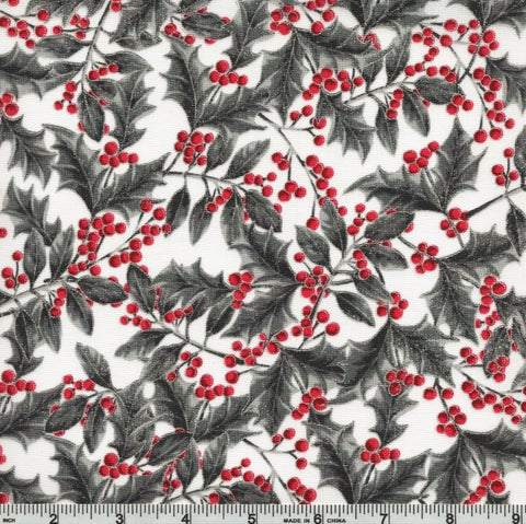 Hoffman Metallic Holiday Decadence 7704 176 Ice/Silver Holly Sprigs By The Yard