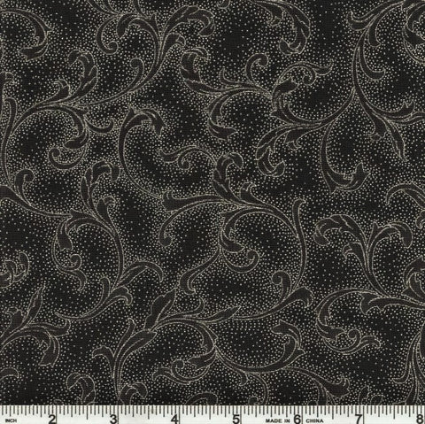 Hoffman Metallic Holiday Decadence 7706 213 Onyx/Silver Curled Leaf By The Yard