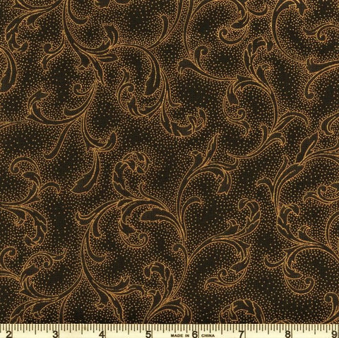 Hoffman Metallic Holiday Decadence 7706 4 Black/Gold Curled Leaf By The Yard