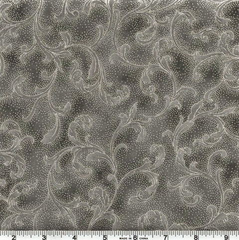 Hoffman Metallic Holiday Decadence 7706 654 Dark Gray/Silver Curled Leaf By The Yard