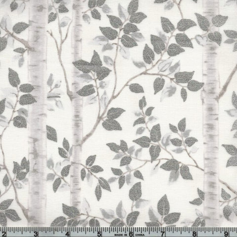 Hoffman Metallic First Snowfall 7714 3 White/Silver Birch Woods By The Yard