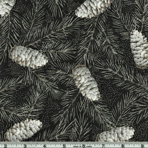 Hoffman Metallic First Snowfall 7715 669 Noir/Silver Snowy Pine By The Yard