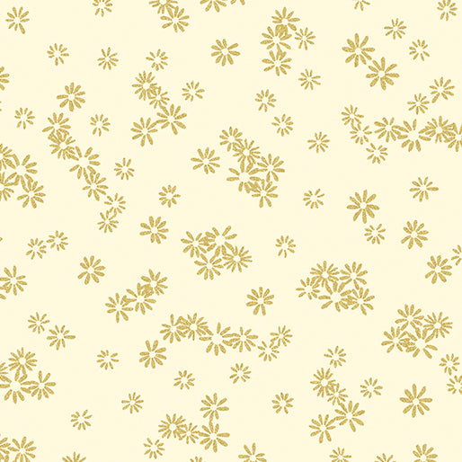 Kanvas Metallic Mixers Gold 7719 07 Flowers Cream/Gold By The Yard