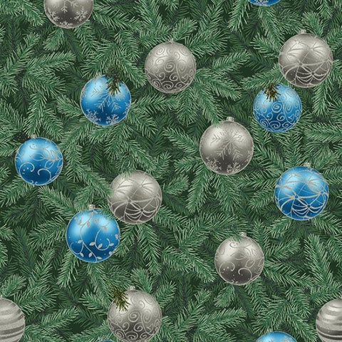 Hoffman Metallic Tree Traditions 7723 436 Eucalyptus/Silver Decorated Tree By The Yard