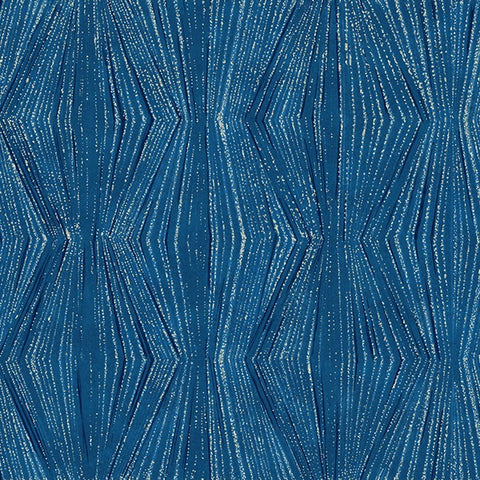Hoffman Metallic Tree Traditions 7728 7 Blue/Silver Frost Trails By The Yard