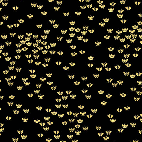 Kanvas Metallic Mixers Gold 7731 99 Butterflies Black/Gold By The Yard