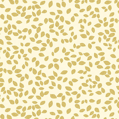 Kanvas Metallic Mixers Gold 7732 07 Tossed Leaves Cream/Gold By The Yard