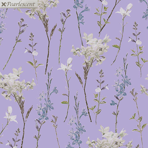Kanvas Metallic Violet Twilight 7924 60 Lilac Shimmery Wild Flowers By The Yard