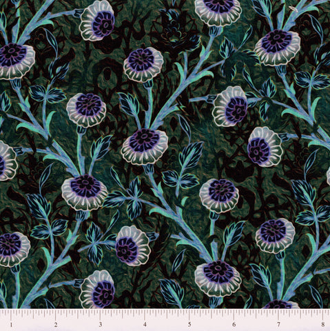 In The Beginning Fabrics Pastiche 7JYG 2 Button Flowers On Teal By The Yard