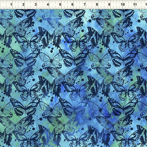 In The Beginning Fabrics Seasons 7SEA 2 Blue Butterflies By The Yard