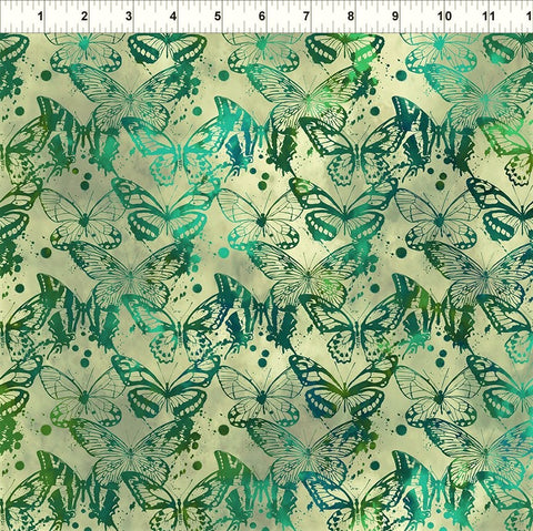 In The Beginning Fabrics Seasons 7SEA 3 Green Butterflies By The Yard