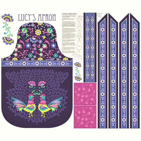 "Riley Blake Lucy's Garden P8645 Lucy's Plum Apron 34"" PANEL By The PANEL (not by the yard)"