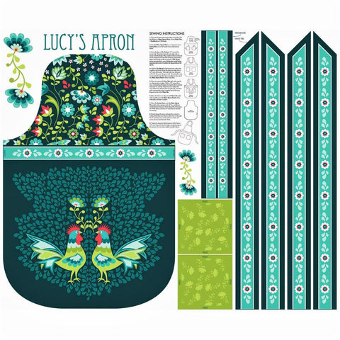 "Riley Blake Lucy's Garden P8645 Lucy's Teal Apron 34"" PANEL By The PANEL (not by the yard)"