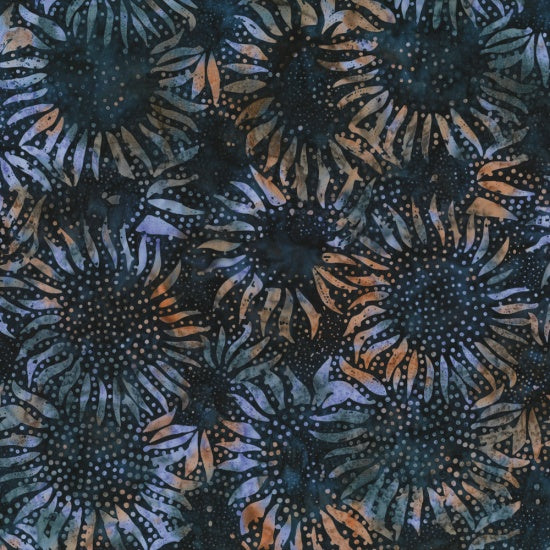 Hoffman Bali Batiks 884 128 Midnight Abstract Sunflowers By The Yard