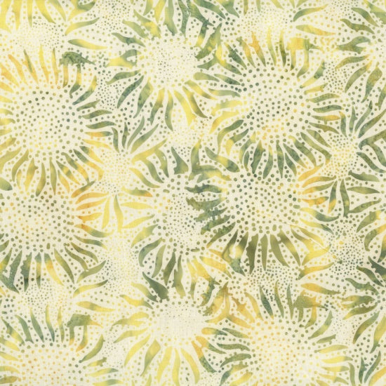 Hoffman Bali Batiks 884 351 Sunny & Green Abstract Sunflowers By The Yard