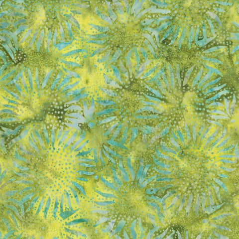 Hoffman Bali Batiks 884 499 Abstract Sunflowers On Chartreuse By The Yard