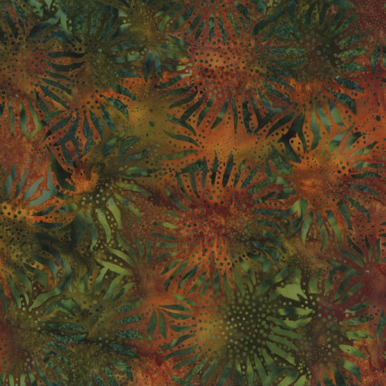 Hoffman Bali Batiks 884 66 Autumn Abstract Sunflowers By The Yard