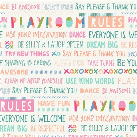 Art Gallery Fabrics Playroom 89810 Playroom Rules By The Yard