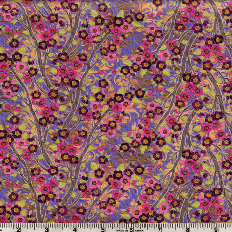 In The Beginning Fabrics Pastiche 8JYG 3 Purple Asian Climbing Flowers By The Yard