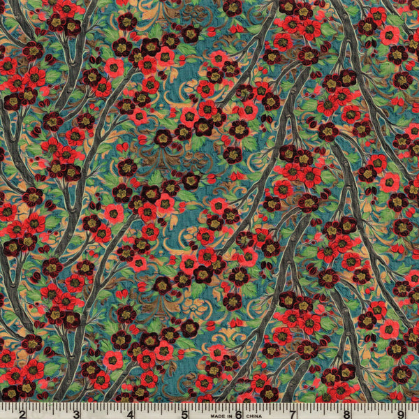 In The Beginning Fabrics Pastiche 8JYG 1 Coral on Teal Asian Climbing Flowers By The Yard