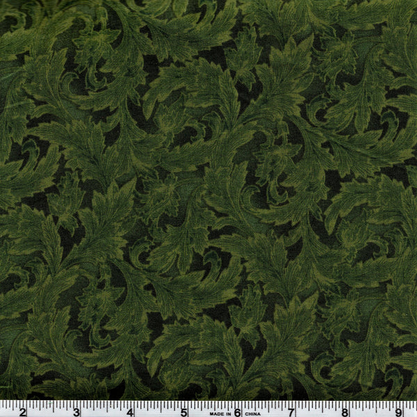 Hoffman Fabrics 9001 60 Ornate Leaves In Hunter By The Yard