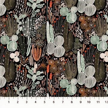 FIGO Fabrics Desert Wilderness 90097 99 Black Cactus Crazy By The Yard