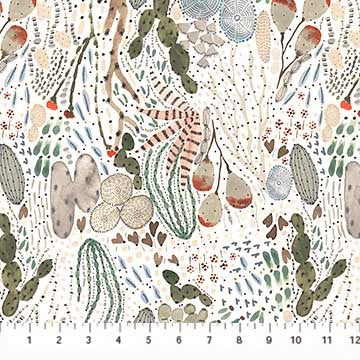 FIGO Fabrics Desert Wilderness 90098 10 White Cactus Crazy By The Yard
