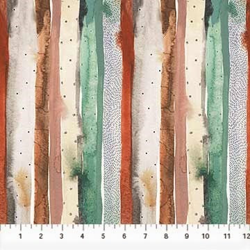 FIGO Fabrics Desert Wilderness 90101 71 Green Watercolor Stripe By The Yard