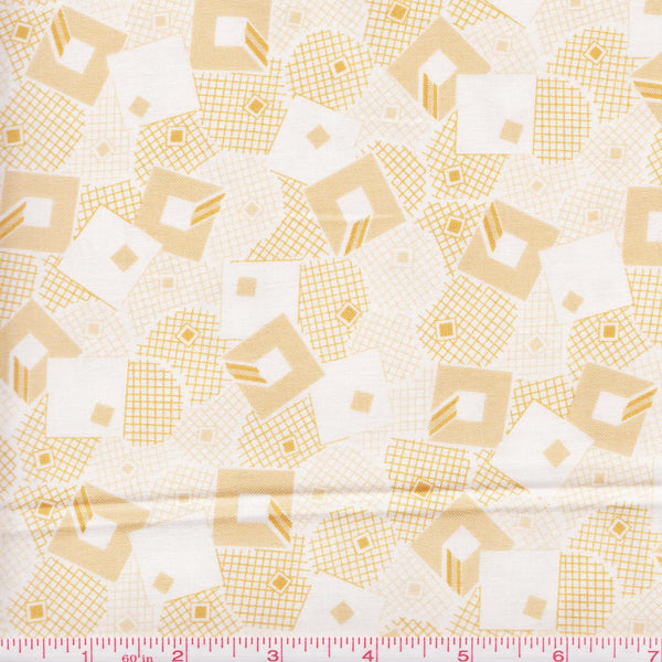 RJR Fabric Doodle Zoo 9082 2 Tan And Beige Squares by the yard