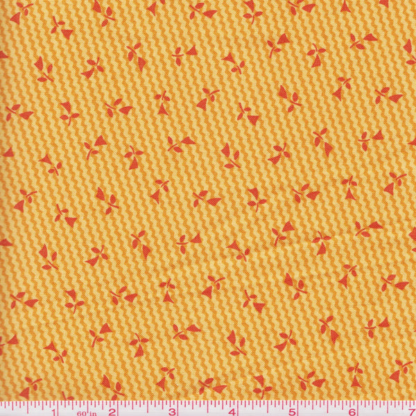 RJR Fabric Doodle Zoo 9084 3 Gold With Red Flowers by the yard