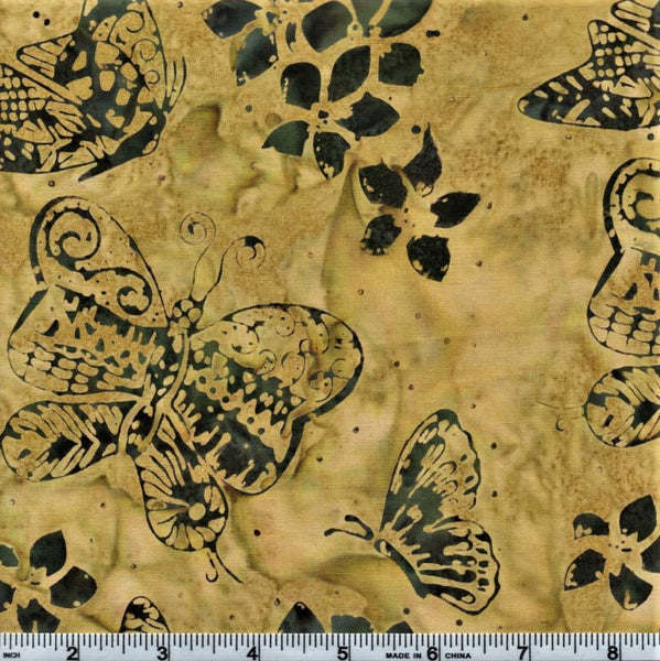 Anthology Batik 9145 Green Butterflies And Flowers By The Yard
