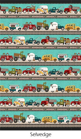 Henry Glass & Co. Papa's Old Truck 9158 61 Teal Border Stripe By The Yard