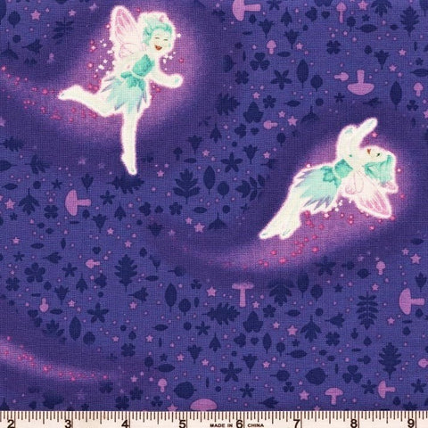 Henry Glass & Co. Summer Soiree 9202G 57 Purple Multicolor Flying Fairies Glow By The Yard
