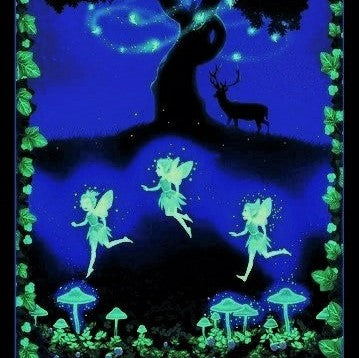 "Henry Glass & Co. Summer Soiree 9207PG 59 Multi Fairies On The Meadow 24"" Glow PANEL By The PANEL (not by the yard)"