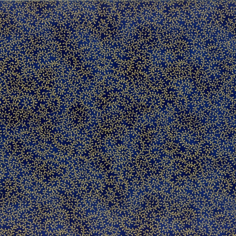 Hoffman Metallics 9216 186  Gold Vines Upon Royal Blue By The Yard