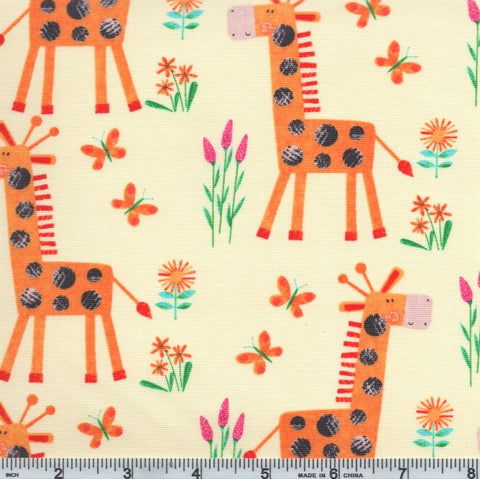 Henry Glass & Co. Numbers In The Jungle 9242 30 Butter Giraffe By The Yard