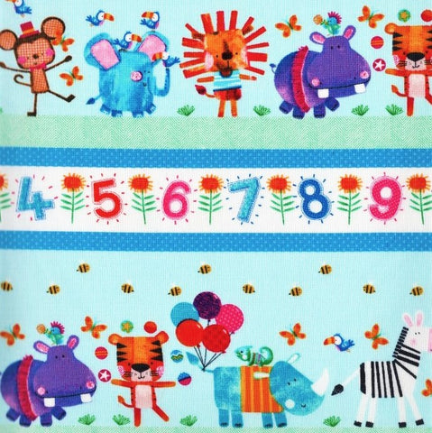 Henry Glass & Co. Numbers In The Jungle 9243 17 Aqua Border Stripe By The Yard