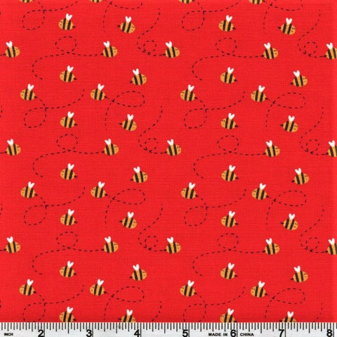 Henry Glass & Co. Numbers In The Jungle 9249 88 Red Tossed Bee By The Yard