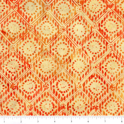 Anthology Batik 9515 Orange Diamond Circles On Yellow By The Yard
