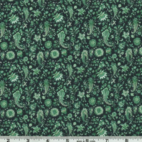 In The Beginning Garden Delights III - 9GSG 3 Teal Paisley By The Yard