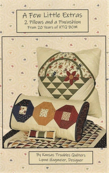 A FEW LITTLE EXTRAS (2 Pillows and a Pincushion) - Kansas Troubles Quilters' Pattern KT 20075
