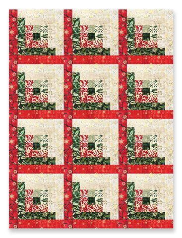 Robert Kaufman Batiks with Metallic Pre-Cut 12 Block Log Cabin Quilt Kit - A Northwoods Christmas