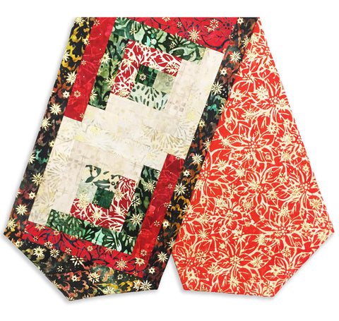 Robert Kaufman Batiks with Metallic Pre-Cut Log Cabin Table Runner Kit - A Northwoods Christmas