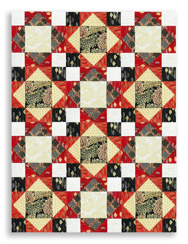 Robert Kaufman Imperial Collection Metallic Pre-Cut 12 Block King's Crown Quilt Kit - Asian Traditions